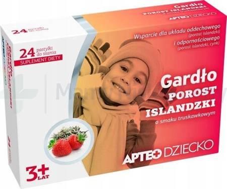 Gardło APTEO DZIECKO smak truskawkowy 24 pastylki